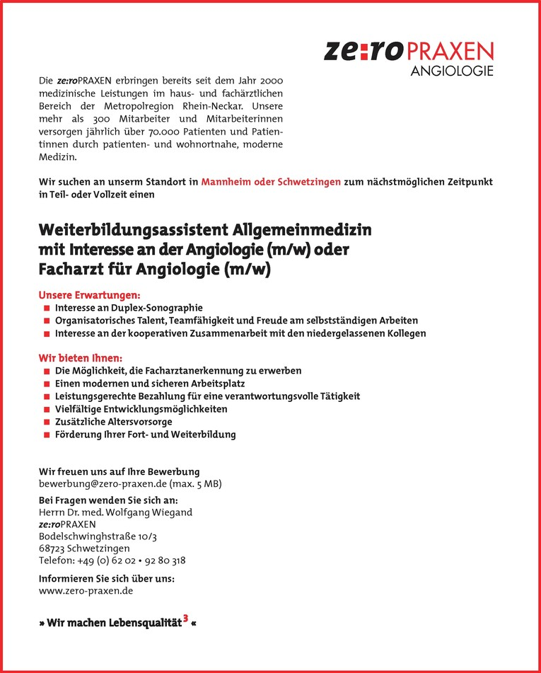 Weiterbildungsassistent Allgemeinmedizin mit Interesse an der Angiologie (m/w) oder Facharzt für Angiologie (m/w)