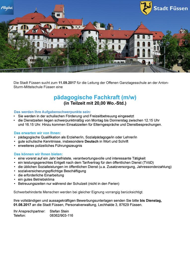 Pädagogische Fachkraft (m/w) in Teilzeit mit 20,00 Wo.-Std. für die Anton-Sturm-Mittelschule Füssen