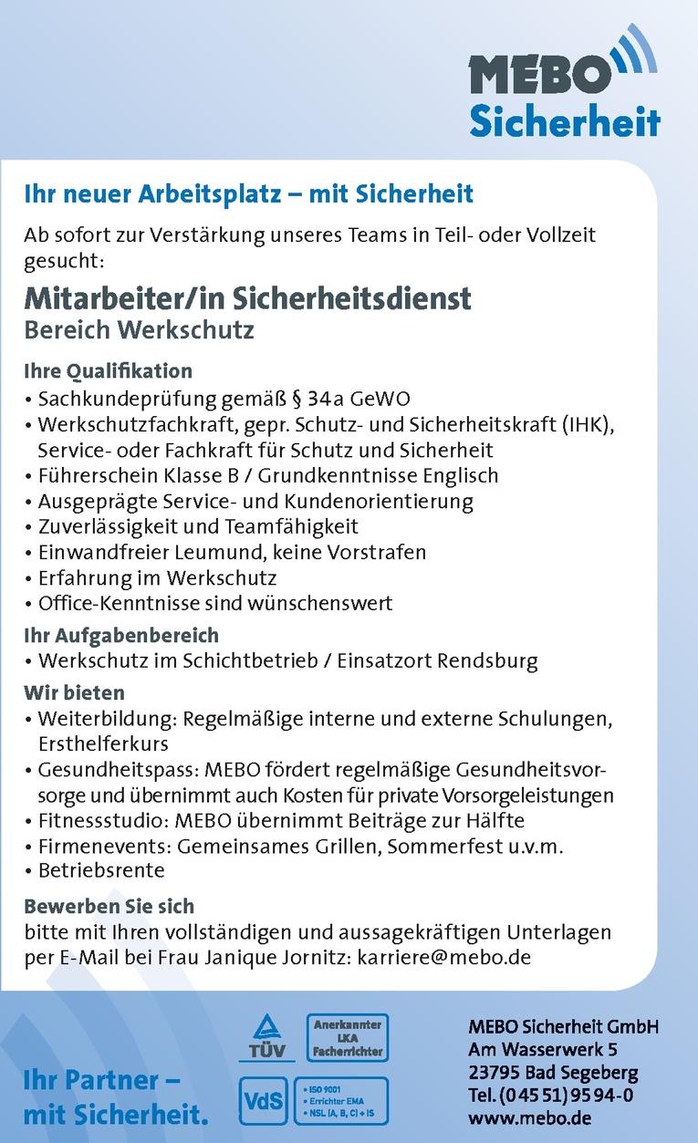 Mitarbeiter/in Sicherheitsdienst