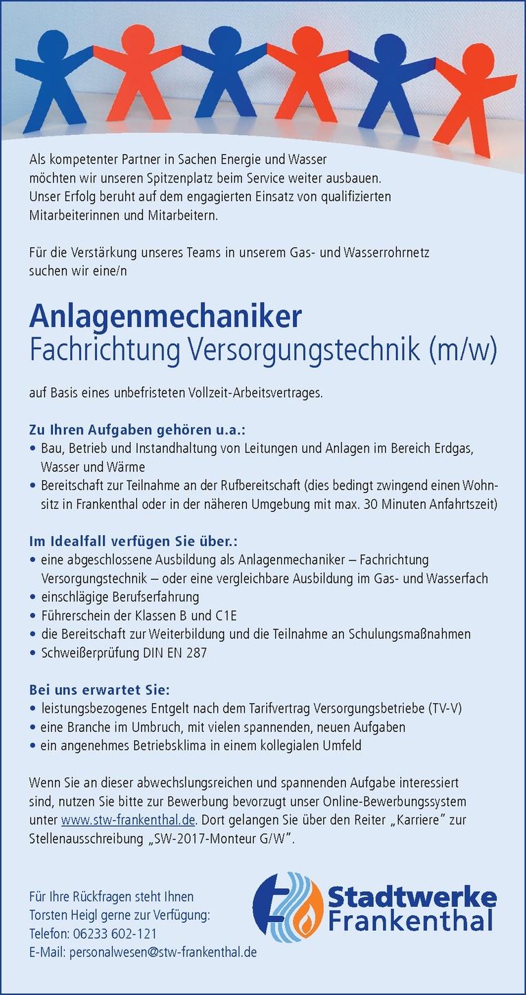Anlagenmechaniker - Versorgungstechnik (m/w)