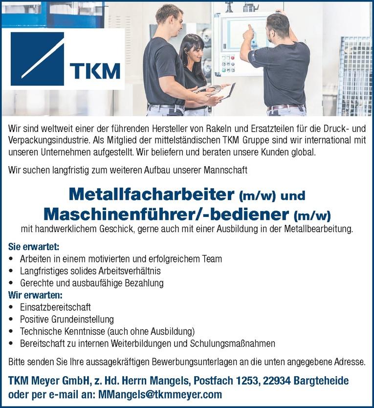 Metallfacharbeiter (m/w)