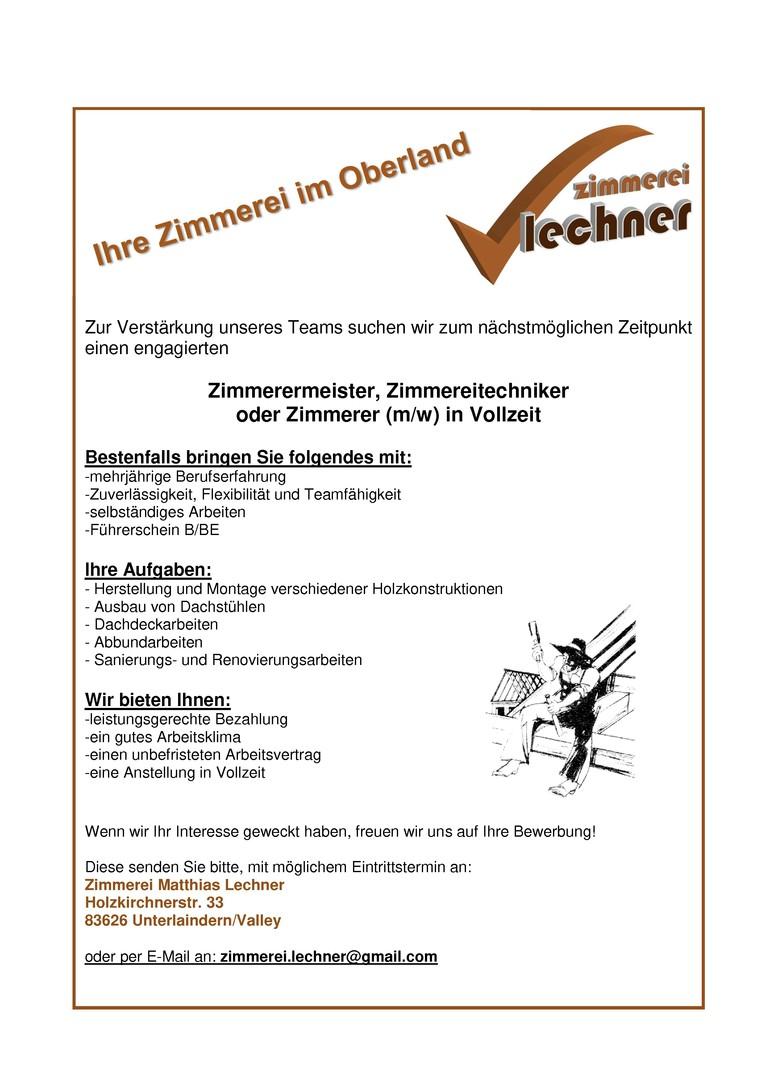 Zimmerer (m/w) in Vollzeit