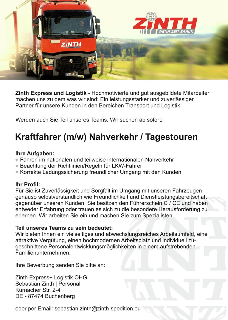 Kraftfahrer (m/w) Nahverkehr / Tagestouren