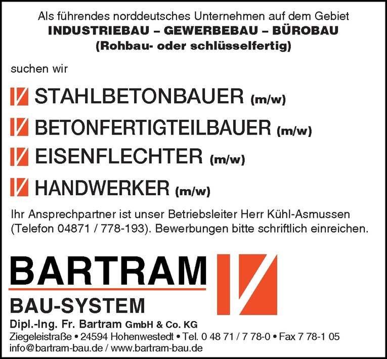 Stahlbetonbauer (m/w)