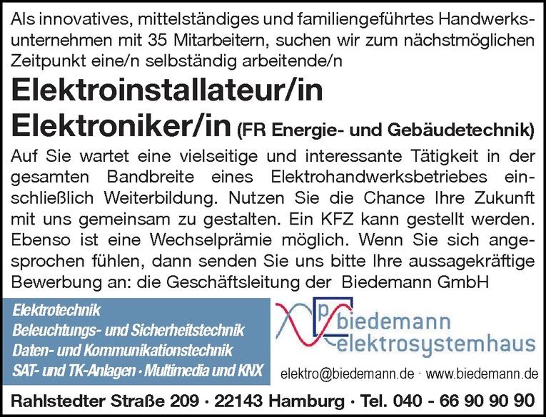Elektroniker/in (FR Energie- und Gebäudetechnik)