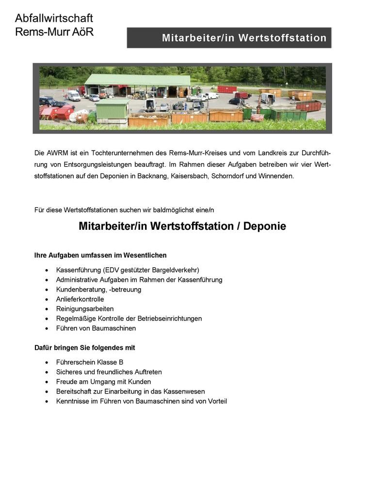 Mitarbeiter/in Wertstoffstation / Deponie