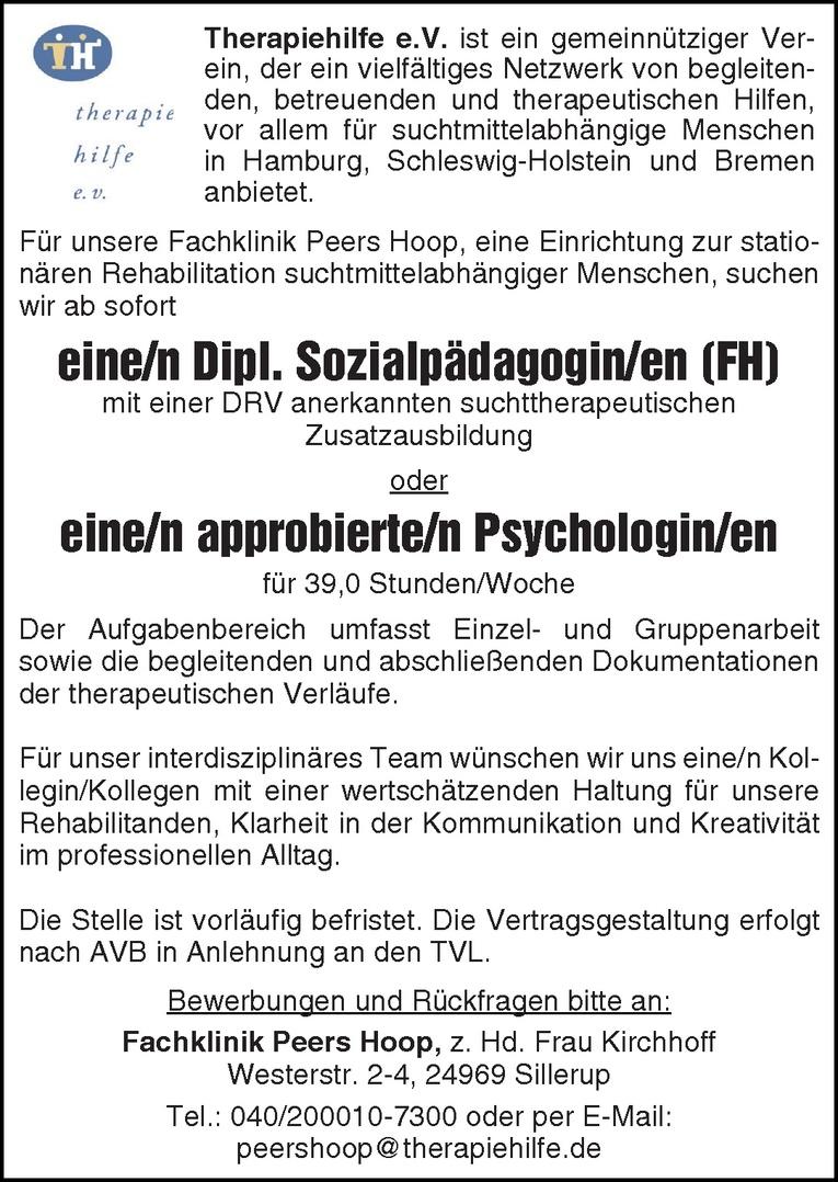 Dipl. Sozialpädagogin/en (FH) / Psychologin/en