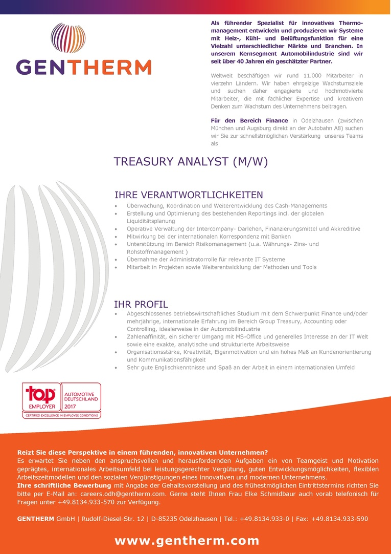 TREASURY ANALYST (M/W)