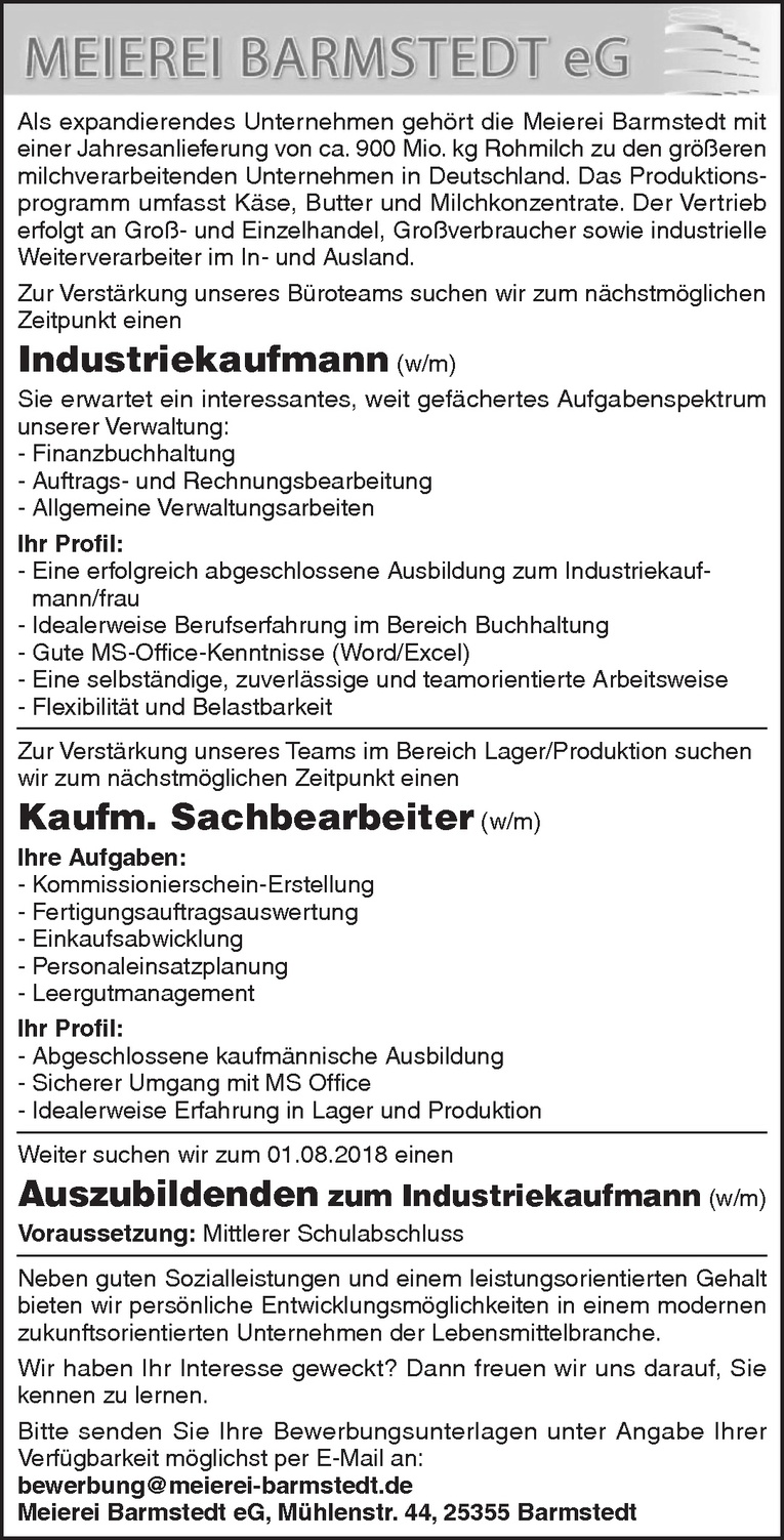 Industriekaufmann (w/m)