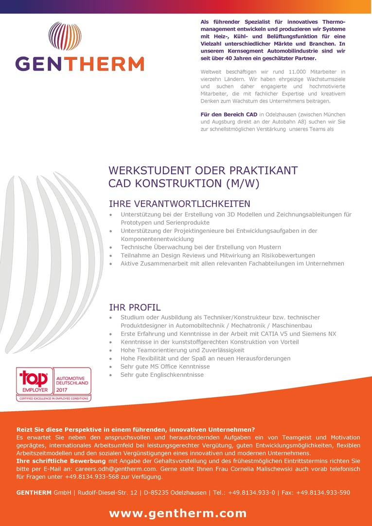 WERKSTUDENT ODER PRAKTIKANT CAD KONSTRUKTION (M/W)