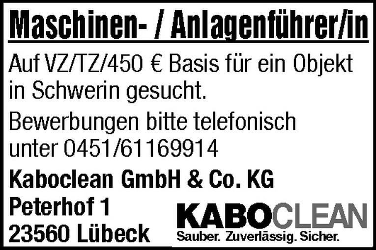 Maschinen- / Anlagenführer/in