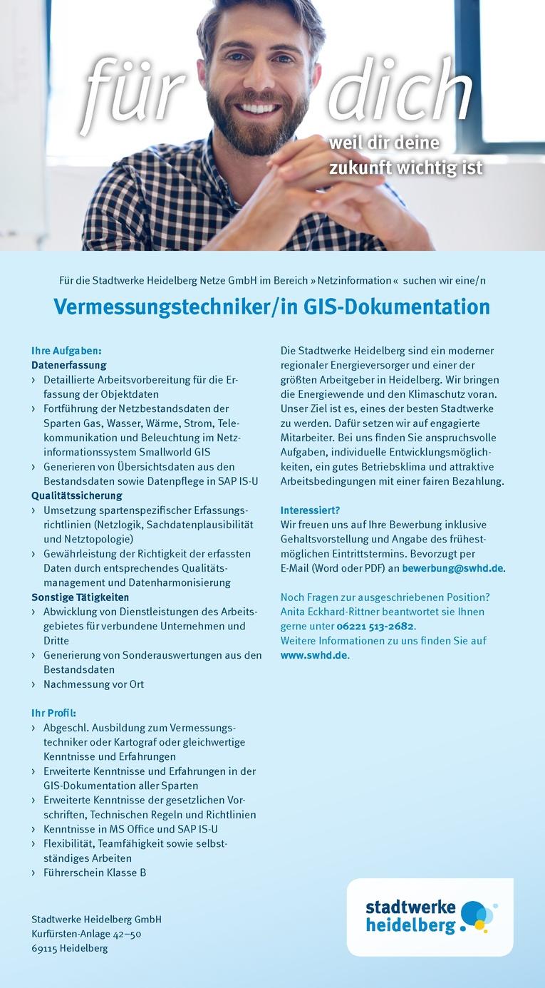 Vermessungstechniker GIS-Dokumentation (m/w)