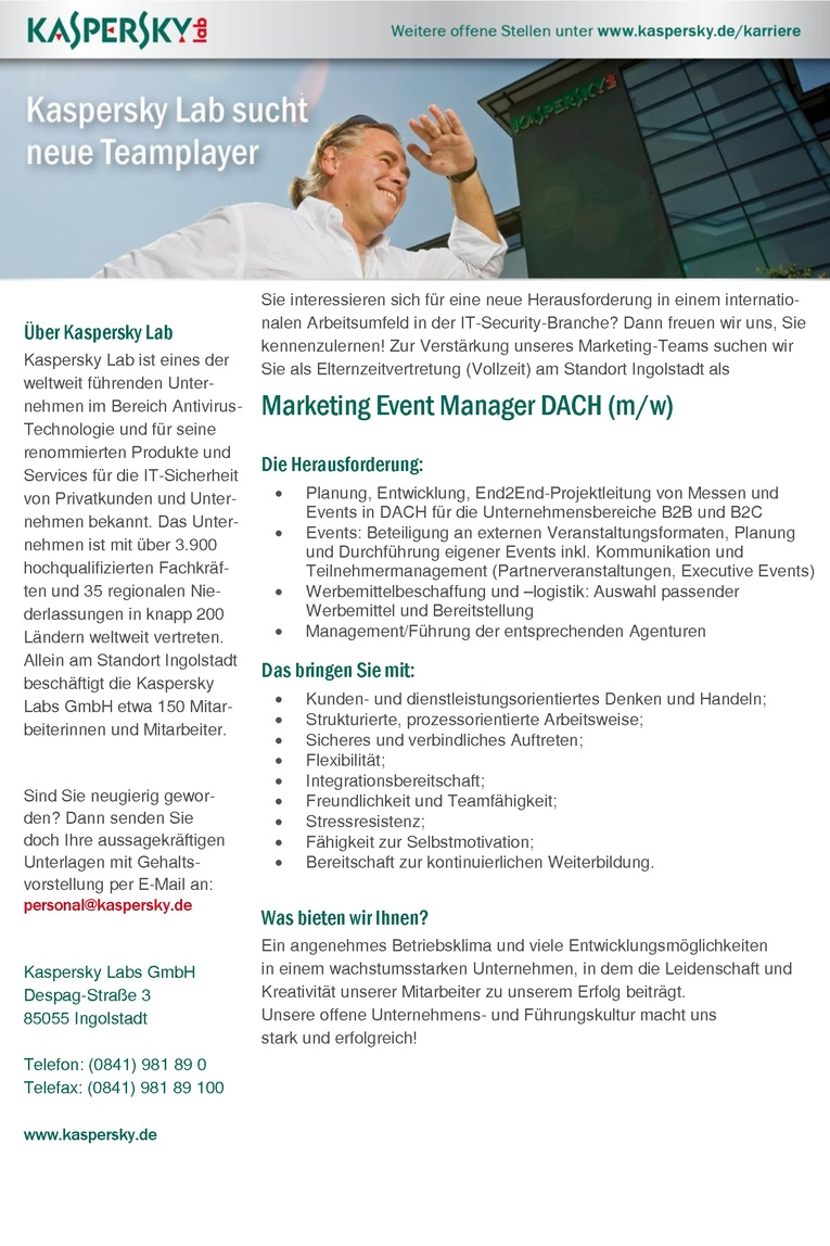 Marketing Event Manager DACH (m/w)