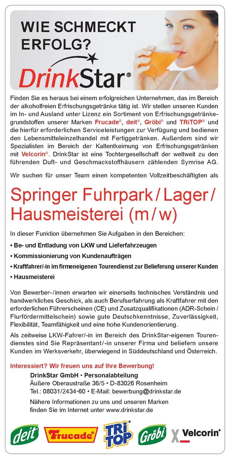 Springer Fuhrpark / Lager / Hausmeisterei (m/w)