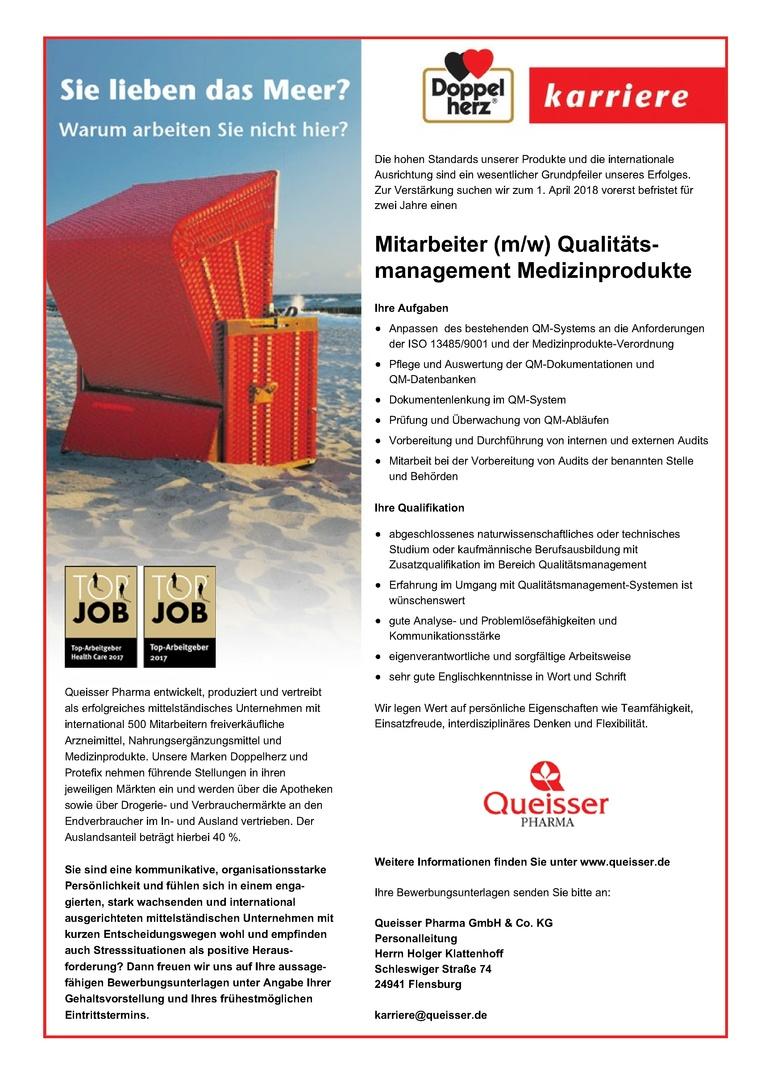 Mitarbeiter (m/w) Qualitätsmanagement Medizinprodukte