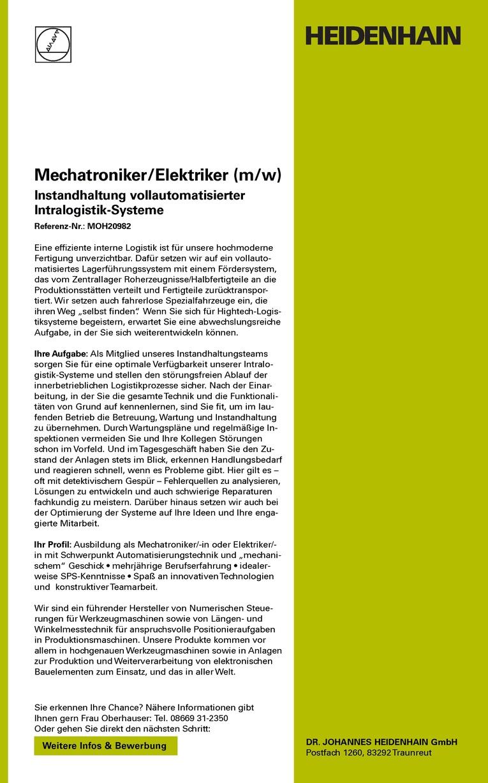 Mechatroniker / Elektriker (m/w)