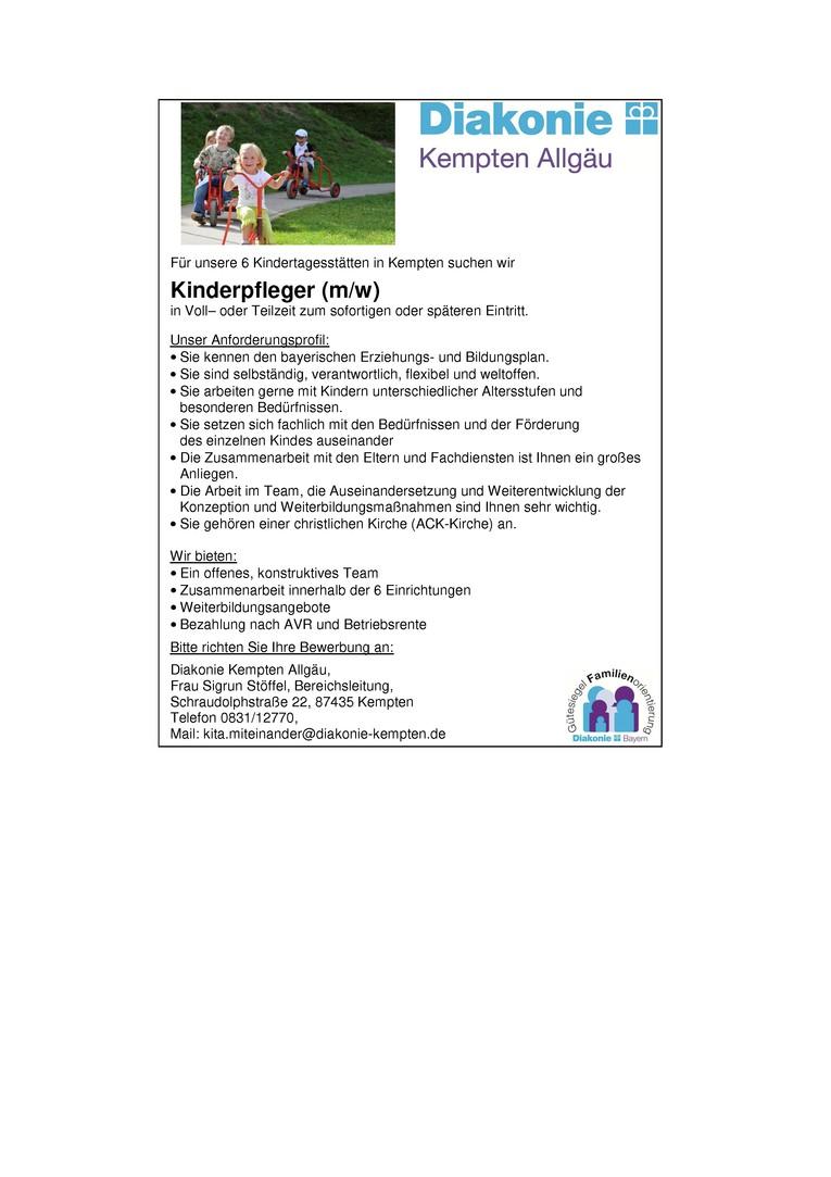 Kinderpfleger (m/w) in Voll- oder Teilzeit zum sofortigen oder späteren Eintritt