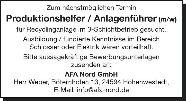 Produktionshelfer / Anlagenführer (m/w)