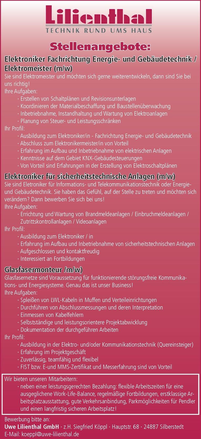 Elektroniker Energie- und Gebäudetechnik / Elektromeister (m/w)