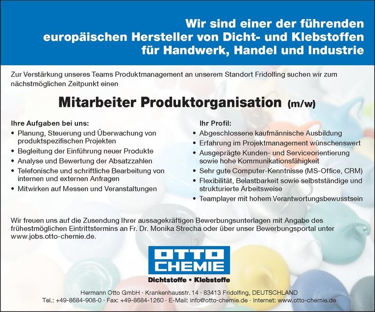 Mitarbeiter Produktorganisation (m/w)