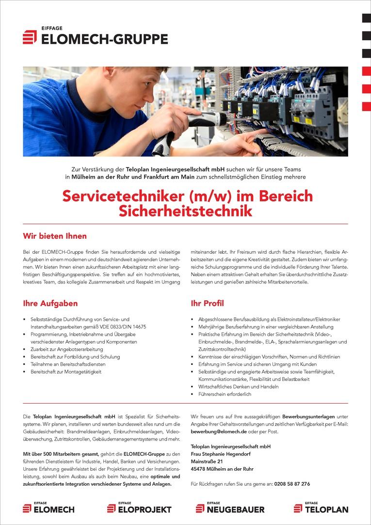 Servicetechniker (m/w) im Bereich Sicherheitstechnik