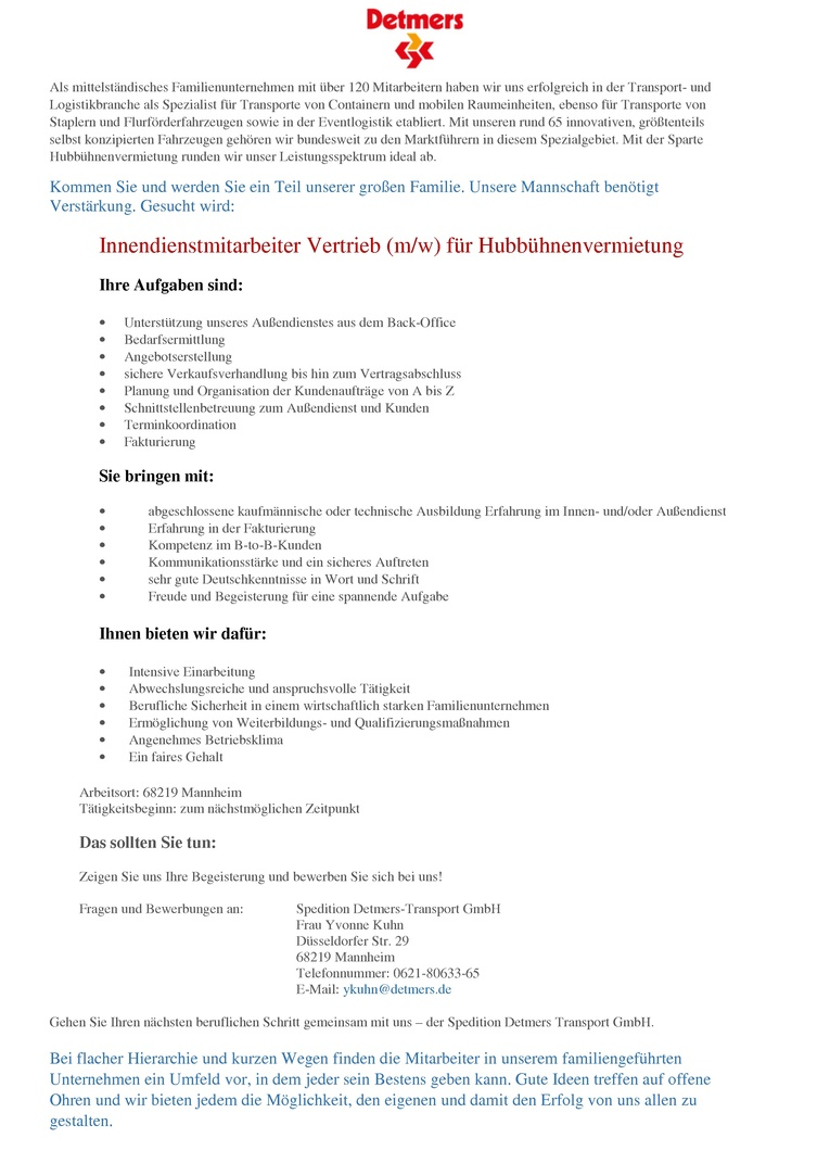 Vertriebsinnendienstmitarbeiter (m/w) für Hubbühnenvermietung