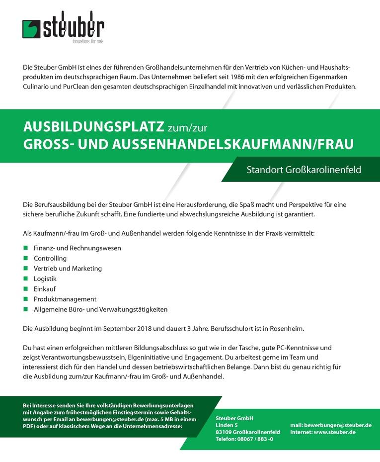 Ausbildungsplatz zum/zur Kaufmann/-frau für Groß- und Außenhandel