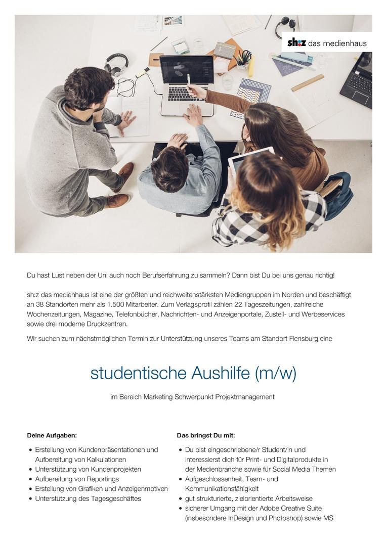 studentische Aushilfe (m/w) im Bereich Marketing Schwerpunkt Projektmanagement