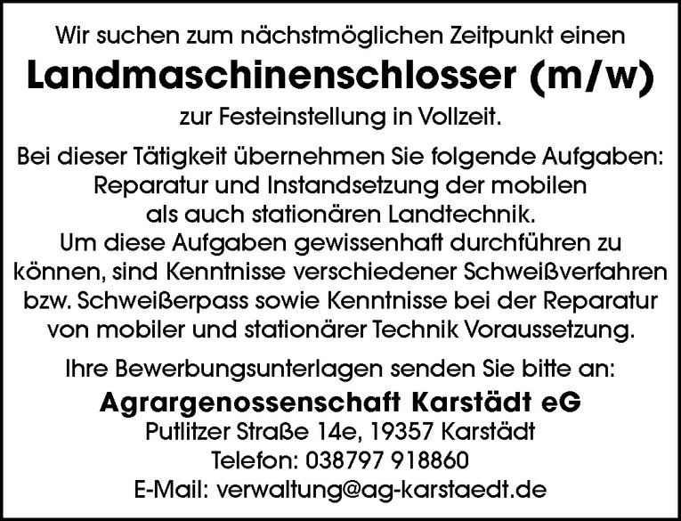 Landmaschinenschlosser (m/w)