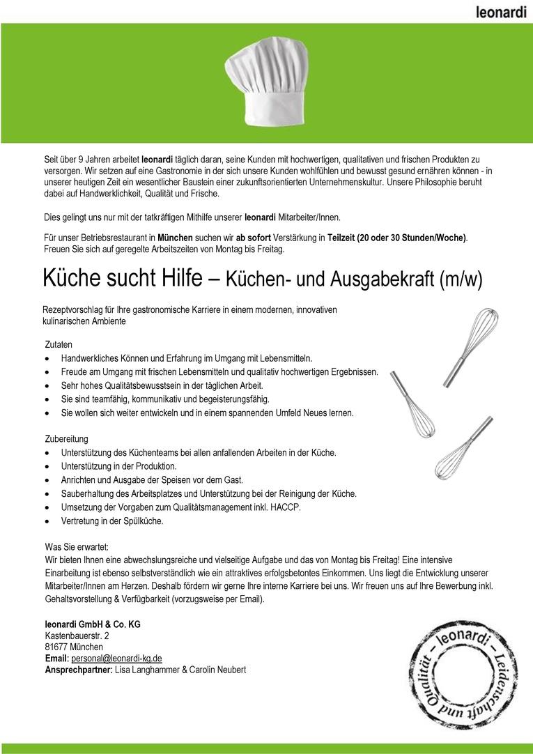 Küche sucht Hilfe - Küchen- und Ausgabekraft in Teilzeit (m/w)