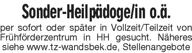Sonder-Heilpädoge/in