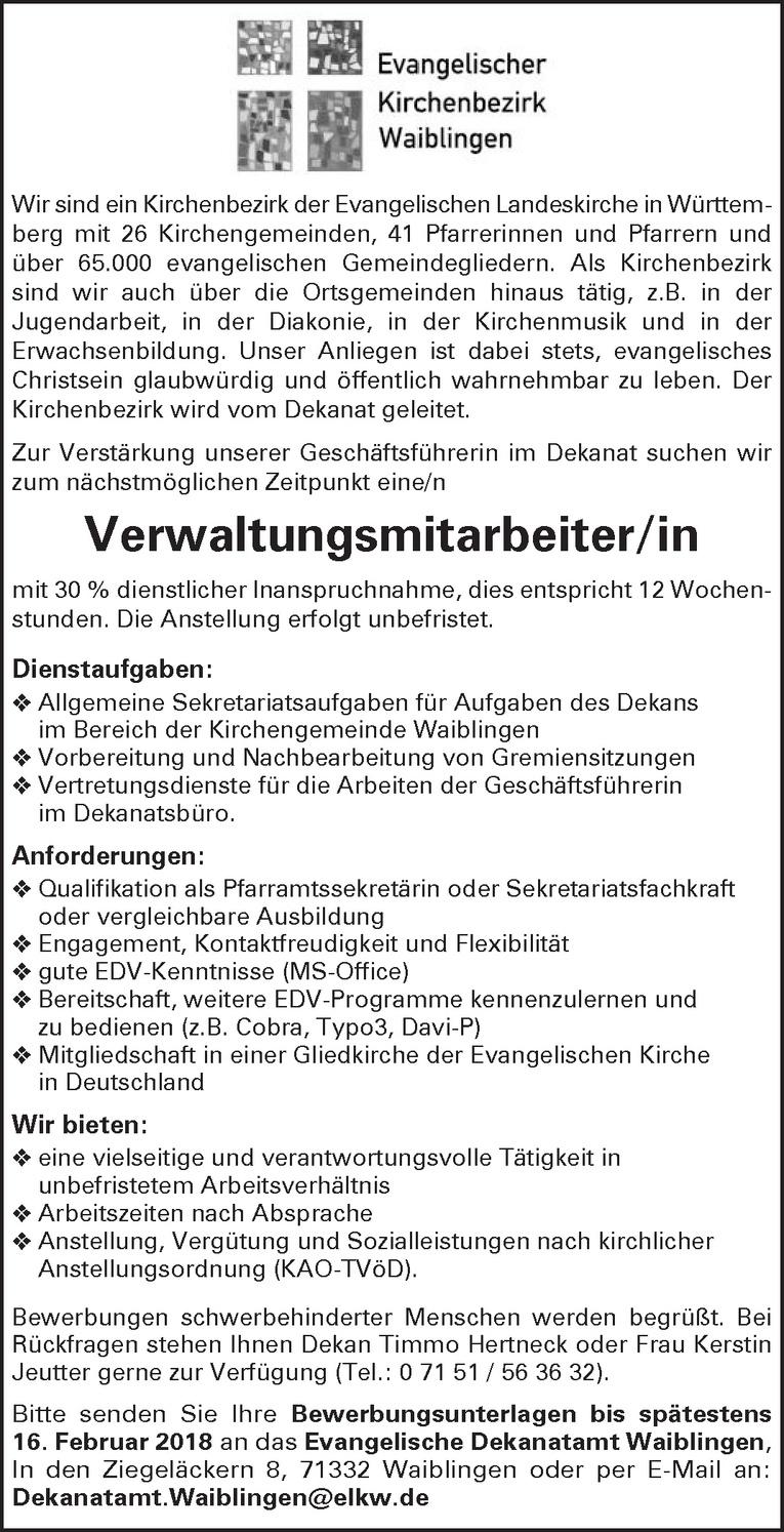 Verwaltungsmitarbeiter/in