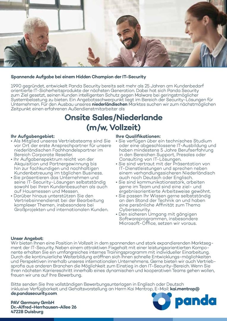 Außendienstmitarbeiter Niederlande (m/w, Vollzeit)