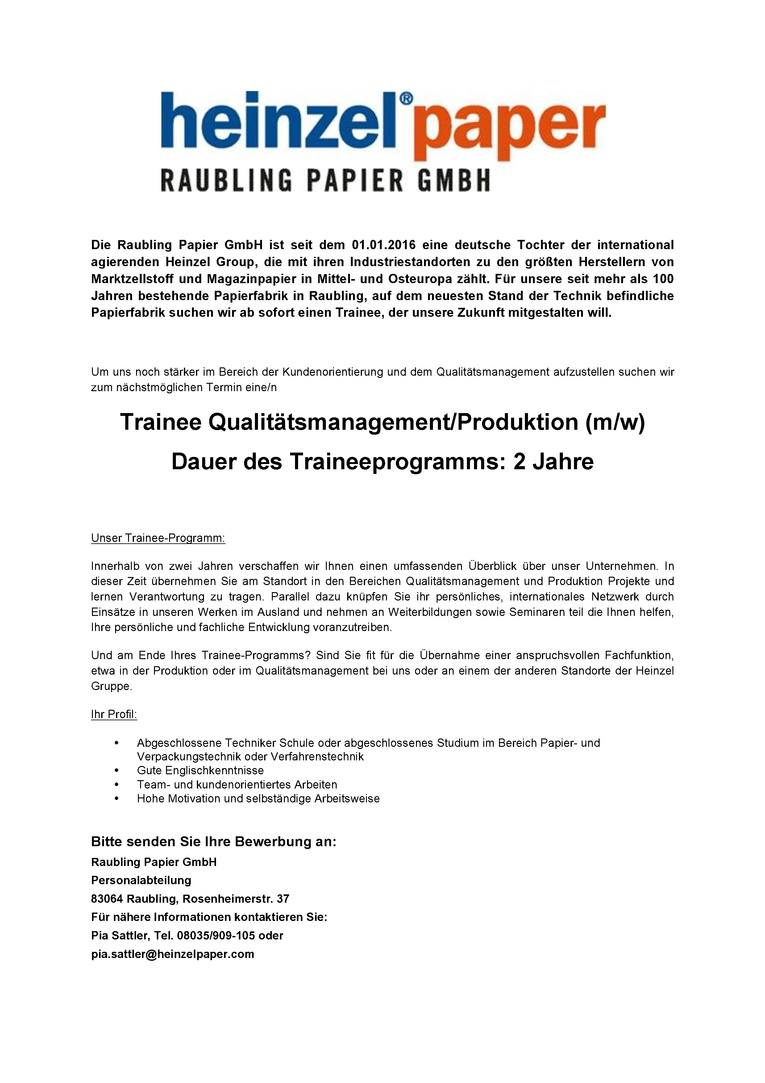 Trainee Qualitätsmanagement / Produktion (m/w)