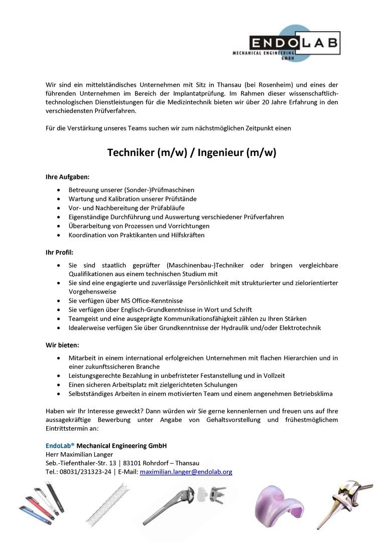 Techniker (m/w) / Ingenieur (m/w)