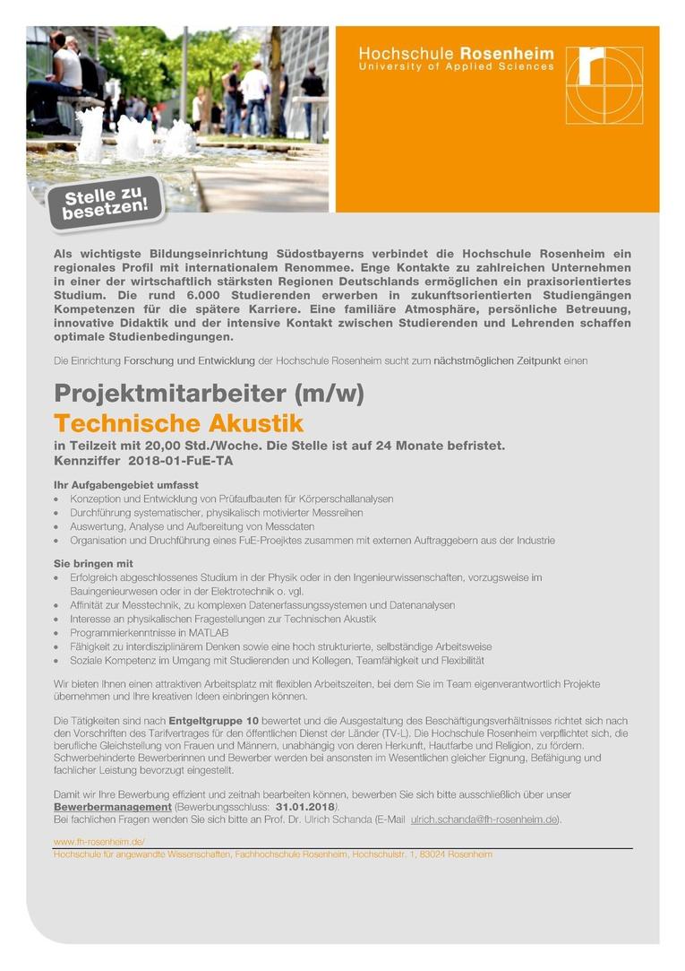 Projektmitarbeiter (m/w) - Technische Akustik