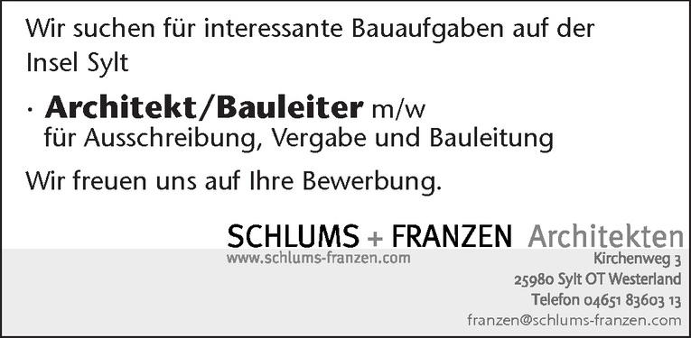 Architekt/Bauleiter m/w