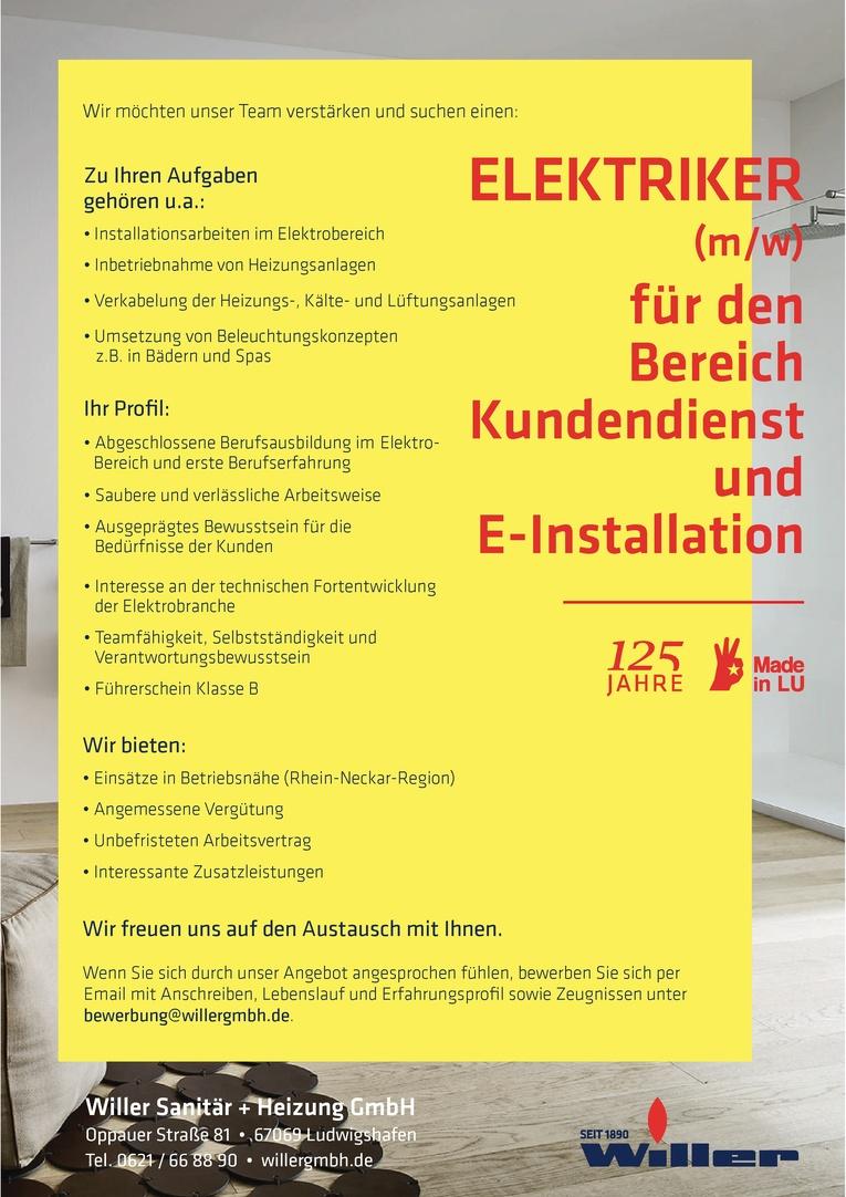 ELEKTRIKER (m/w) für den Bereich Kundendienst und E-Installation