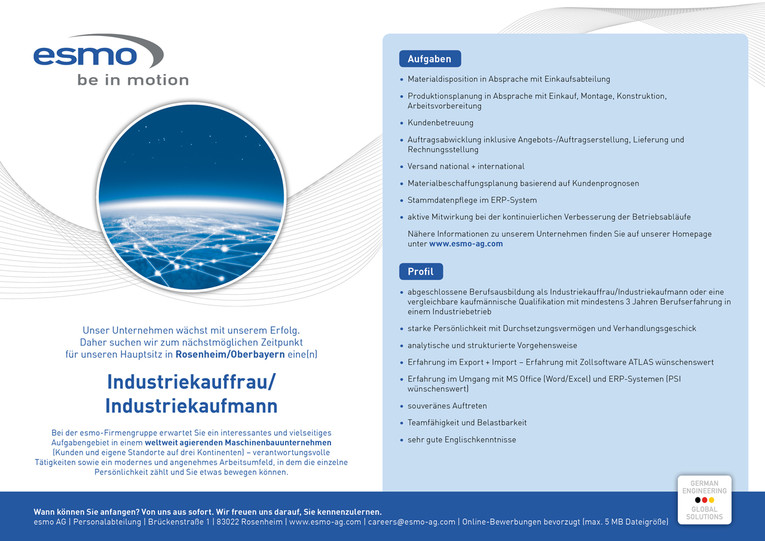 Industriekauffrau / Industriekaufmann