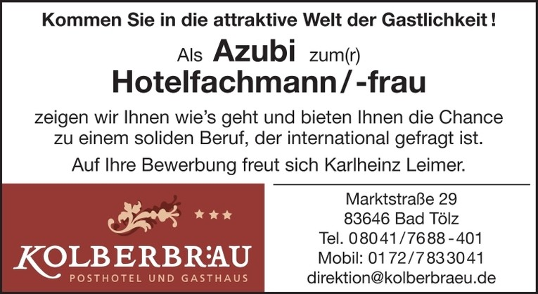 Azubi zum Hotelfachmann (m/w)