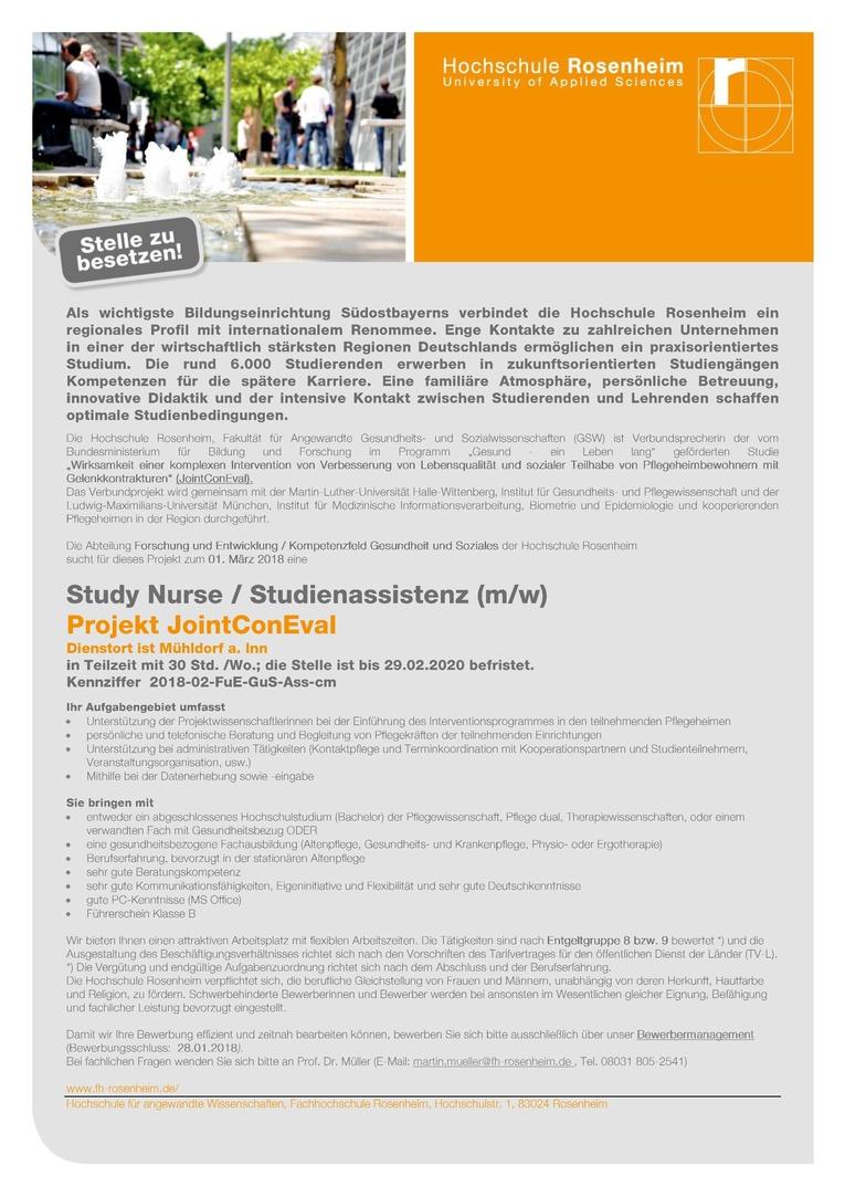 Study Nurse / Studienassistenz (m/w)  - Projekt JointConEval