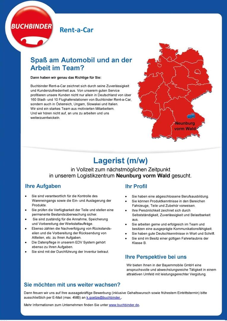 Lagerist (m/w) - Vollzeit - ab sofort - Neunburg vorm Wald