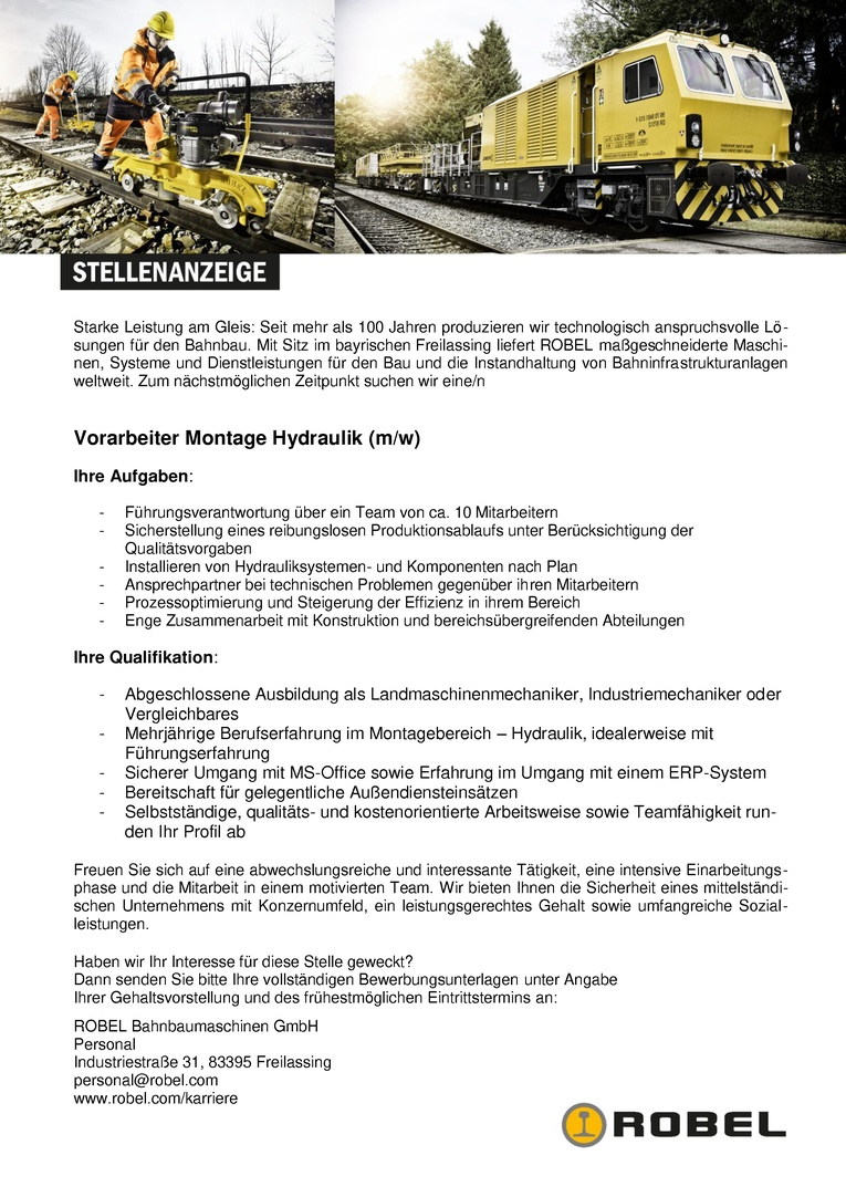 Vorarbeiter Montage Hydraulik (m/w)