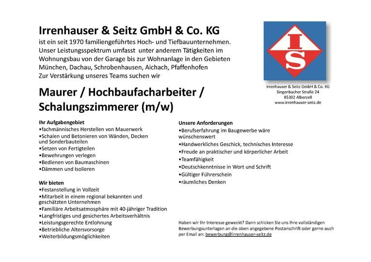 Maurer - / in, Hochbaufacharbeiter (m/w), Schalungszimmerer (m/w)