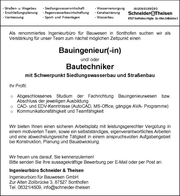 Bauingenieur (m/w) und/ oder Bautechniker (m/w) mit Schwerpunkt Siedlungswasserbau und Straßenbau
