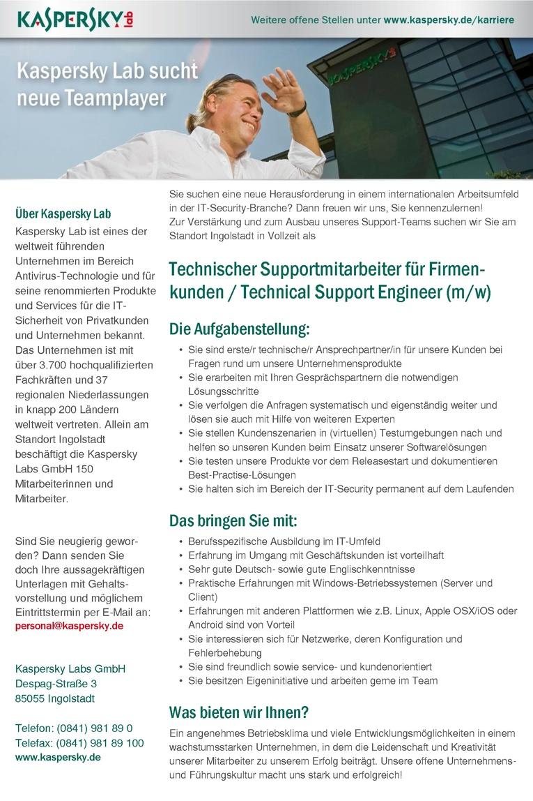 Technischer Supportmitarbeiter für Firmenkunden / Technical Support Engineer (m/w)