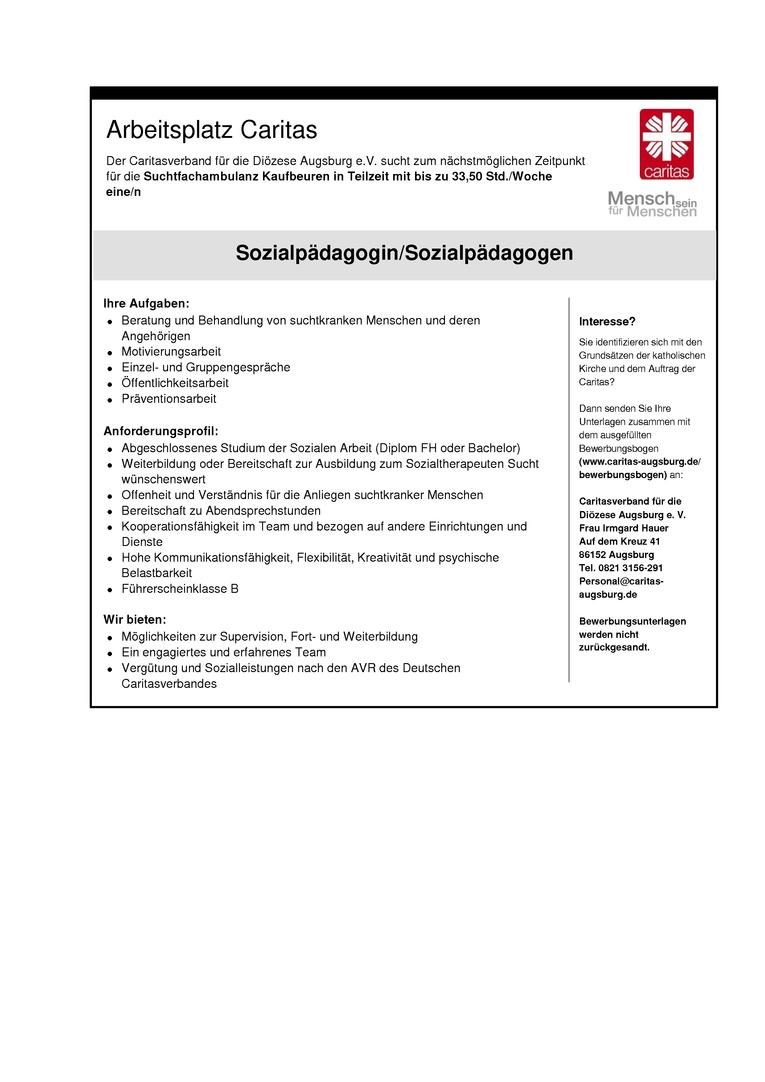 Sozialpädagoge/Sozialpädagogin für die Suchtfachambulanz
