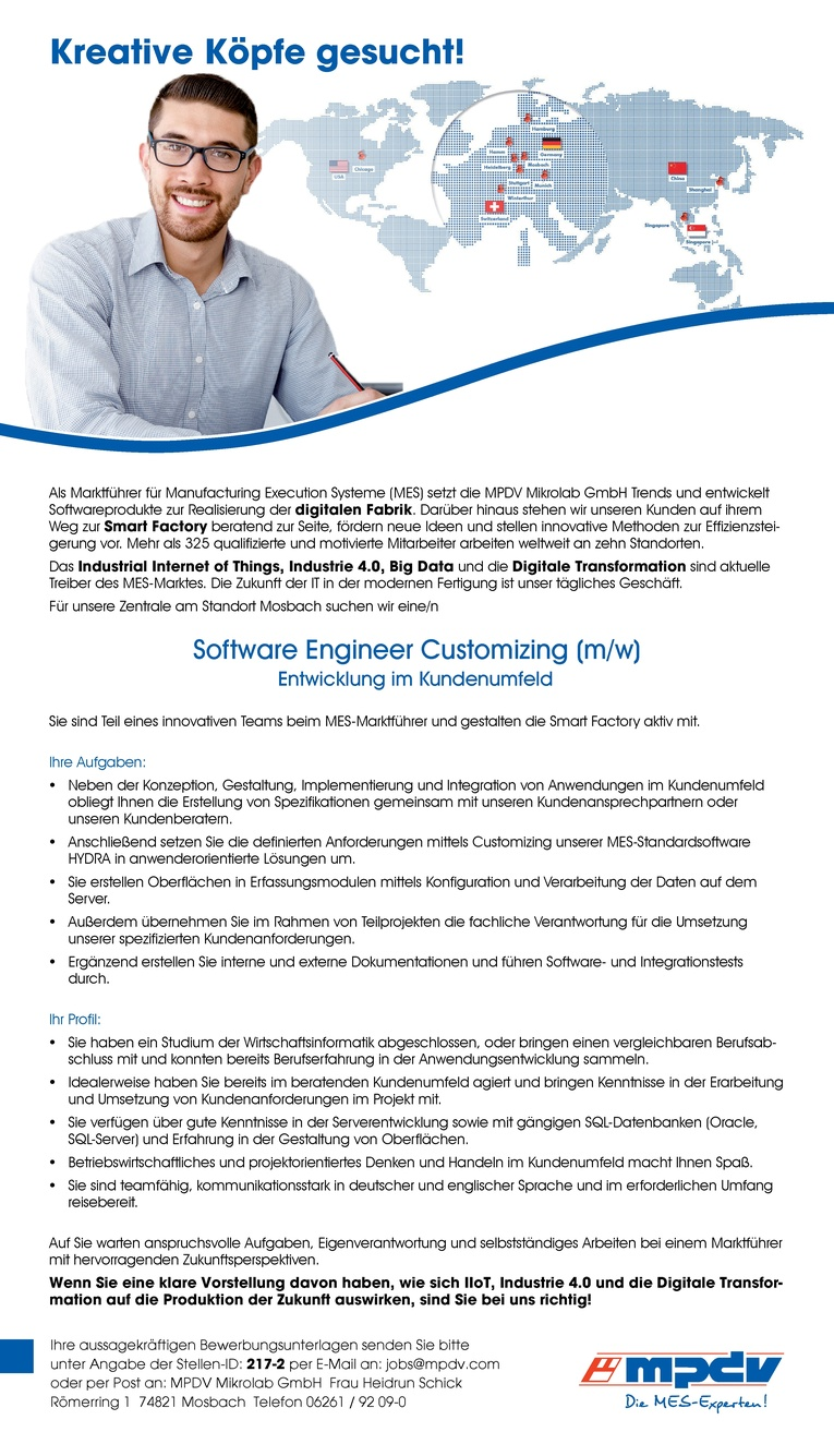 Software Engineer Customizing (m/w) - Entwicklung im Kundenumfeld