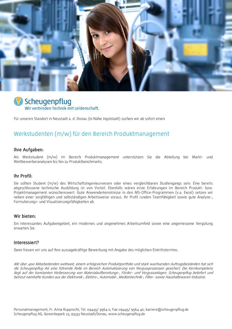 Werkstudenten (m/w) für den Bereich Produktmanagement