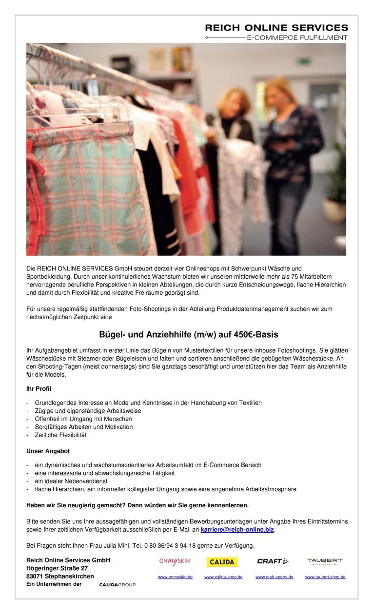 Bügel- und Anziehhilfe (m/w) Foto-Shooting auf 450€-Basis